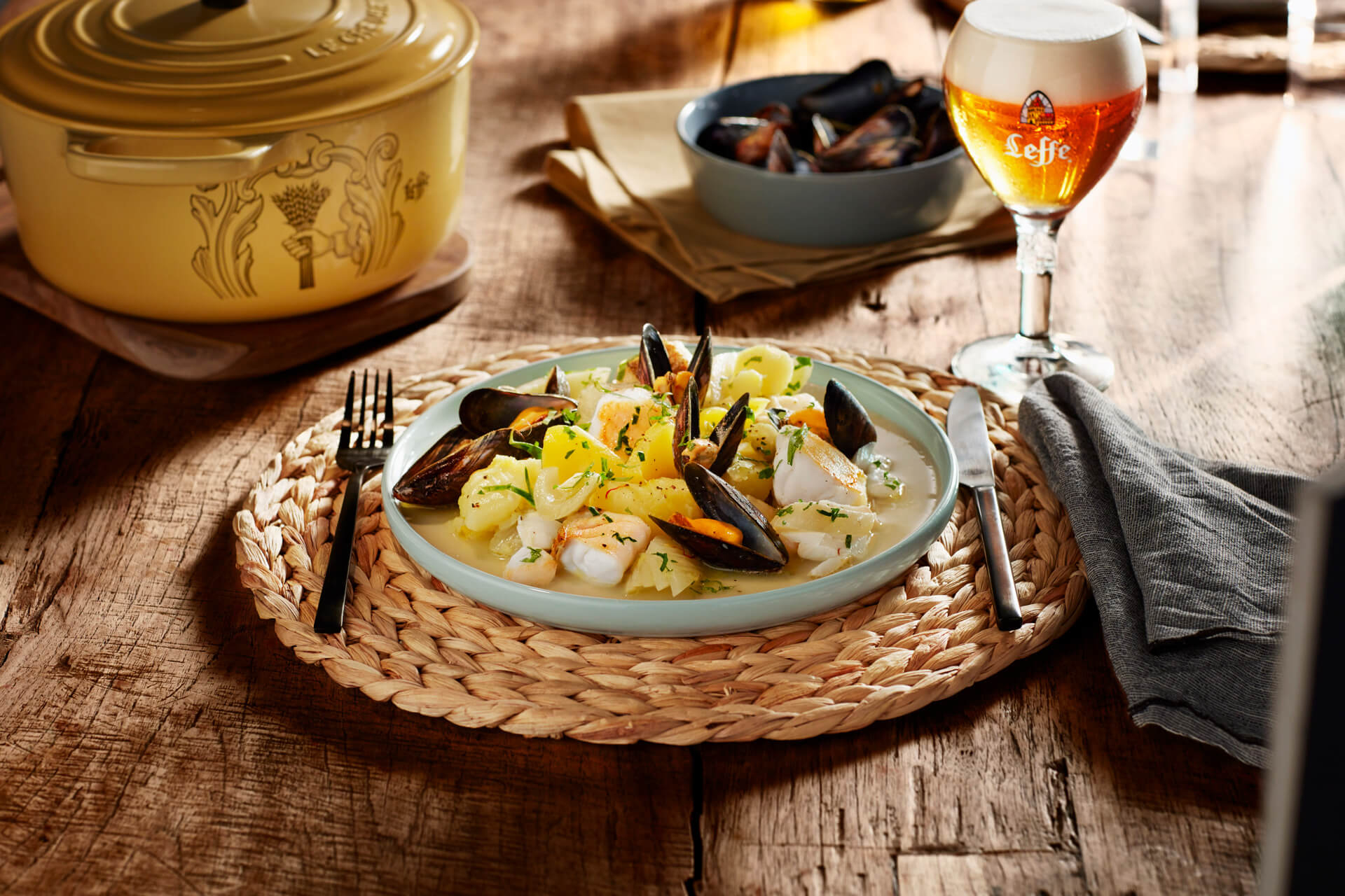 Leffe - food photography by Erik de Koning - mixed seafood and beer